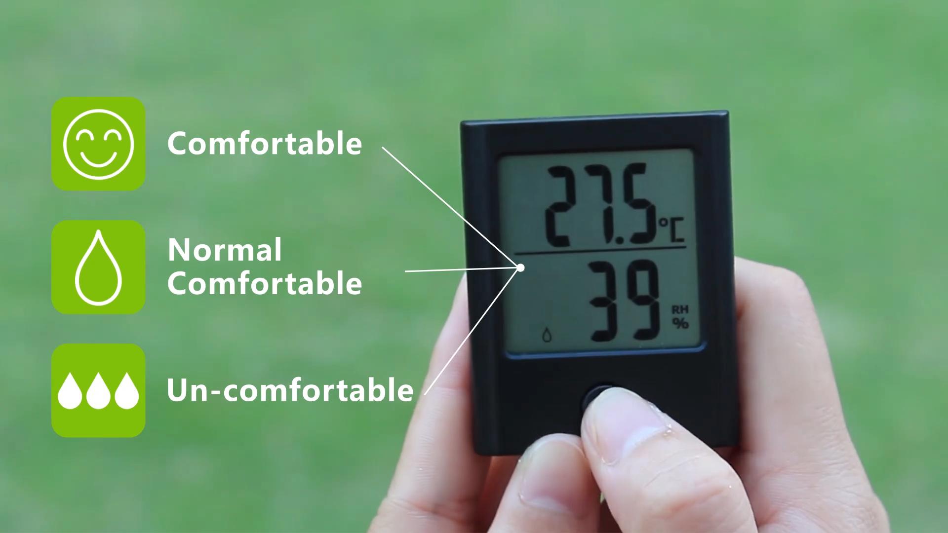 Amazon горячие мини цифровой Внутренний термометром и гигрометром декоративные часы для холодильной камеры влажности температуры монитора магнит металлическая подставка отверстие для подвешивания