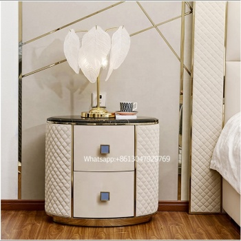 Entry luxury side table bedroom furniture modern bedroom set marble top leather bedside table for bedroom