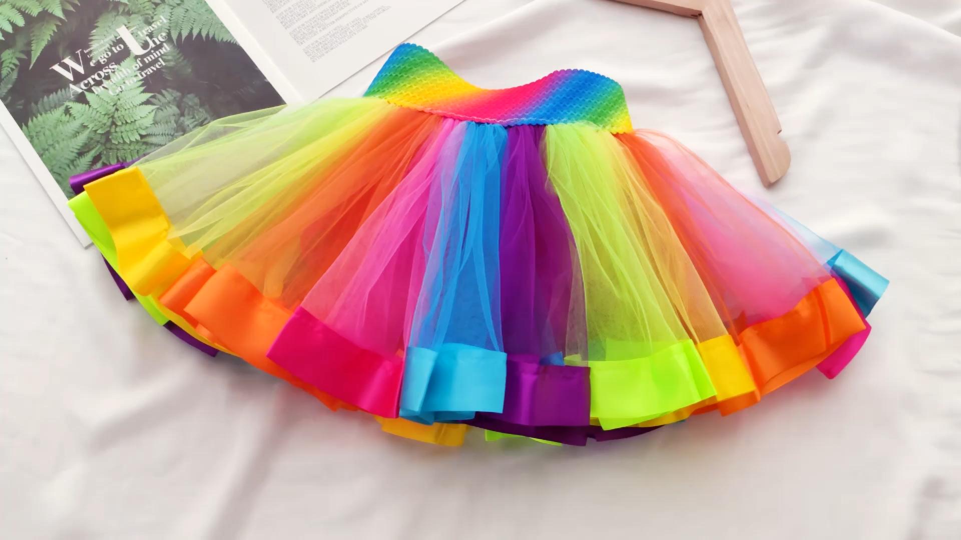 China Wholesale Hot Selling Kids Tutu Frock Children Rainbow Colorful Satin Tutu Skirt For Girls