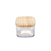 High quality BPA Free Eco-friendly square plastic seal pot with wooden lid 680ml Food Seal Pot Airtight Canister