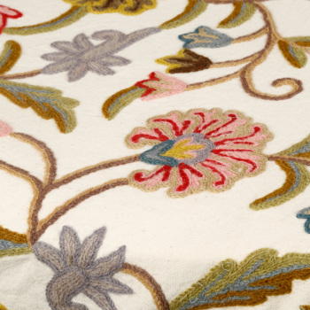 Wool/Cotton Crewel Embroidery Bed Spreads with 2 pillow cases