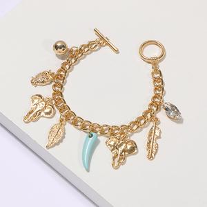 2019 New Design Elephant Owl Charm Bracelets Women Bangles Gold Chain Bracelet Alloy Leaf Shaped Charms Crystal Pulseras Jewelry
