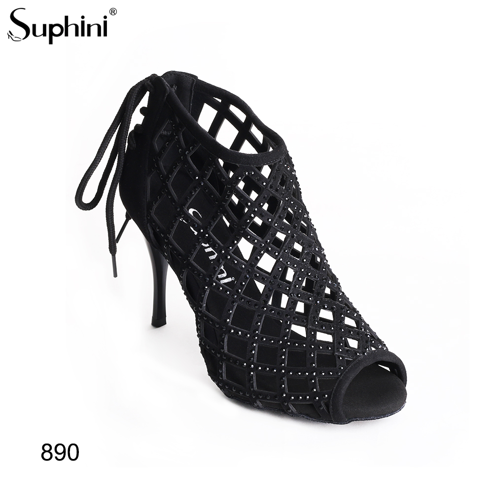 Suphini Multiple heel Choice Lady Suede Sole Party Dancing Shoes Black Dance Boots