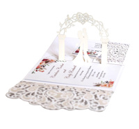 New Design Custom Luxury Laser Cut 3D Handmade Pop Up Wedding Invitation Card with Envelope