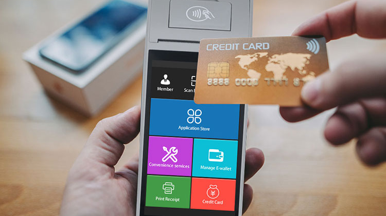 Hemat Biaya 9.0 NFC PDA Mesin Ponsel Sentuh Sistem POS dengan Printer, top Up POS