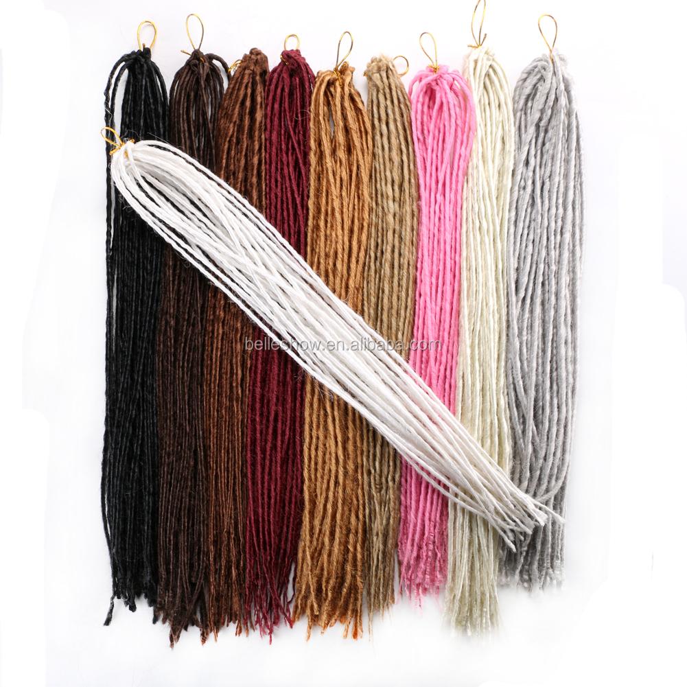 Lana rastas trenzado pieza de cabello ombre pelo trenzado del cabello humano trenzado a granel