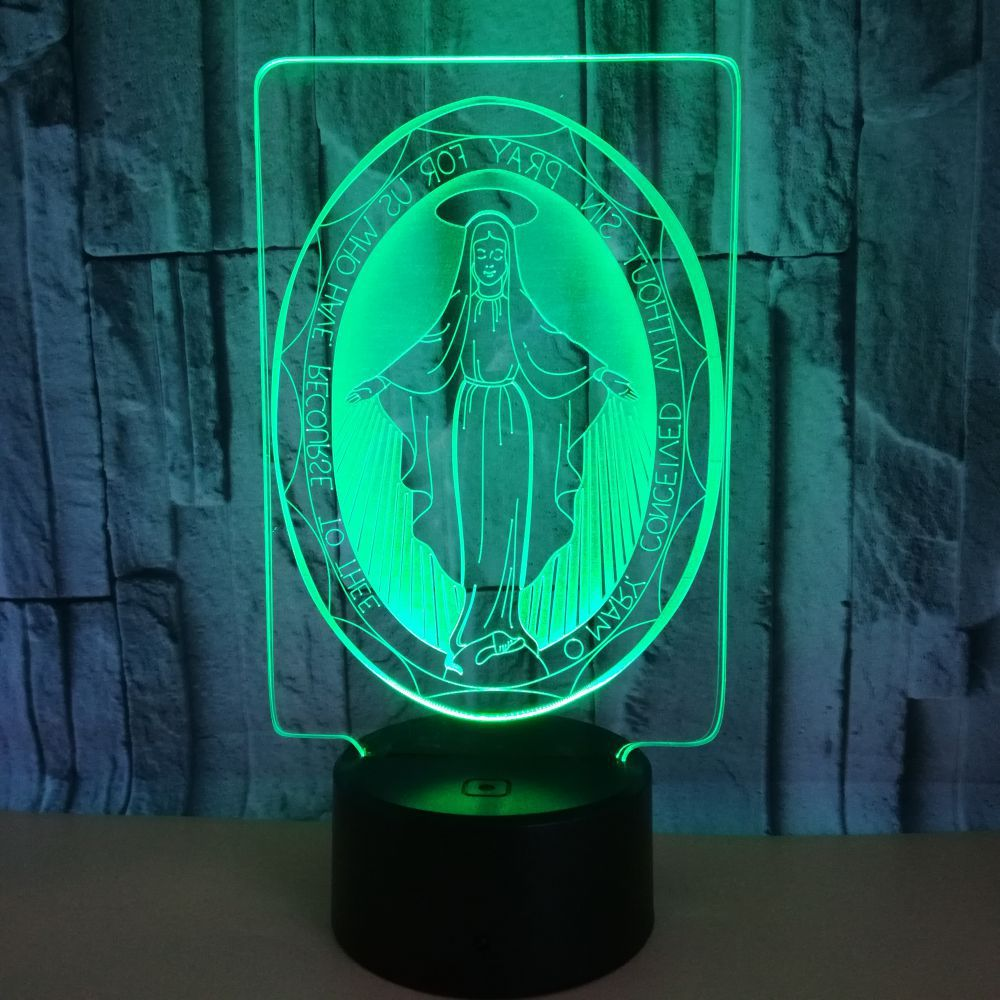 Ação de graças Presente do Cristianismo Virgem Maria Maria 3D Lâmpada Noite novo Controle de Toque Colorido Luzes LED Fonte De Alimentação USB