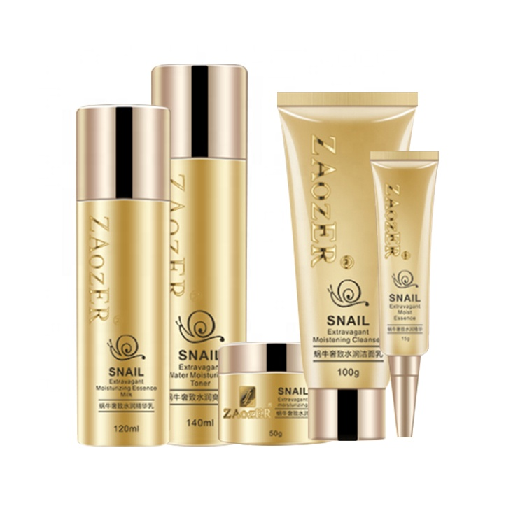 Private Label Snail Mucus Natural Essence Cosmetics Face Skin Care Set Anti Aging Whitening Snail Skin Care Set