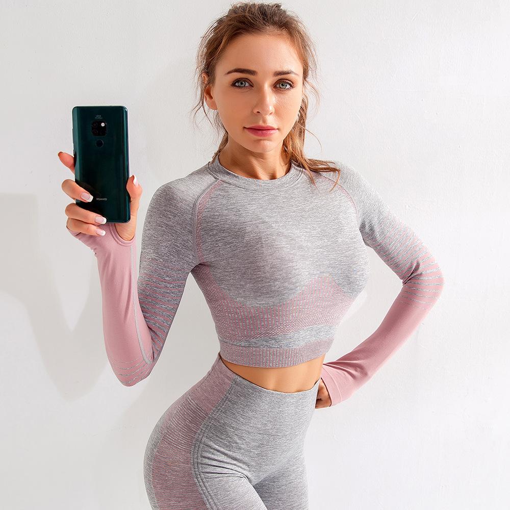 Custom Logo Women Tight Fitting Long Sleeve Fitness Yoga Clothes Seamless Crop Top Sport T-shirt 9