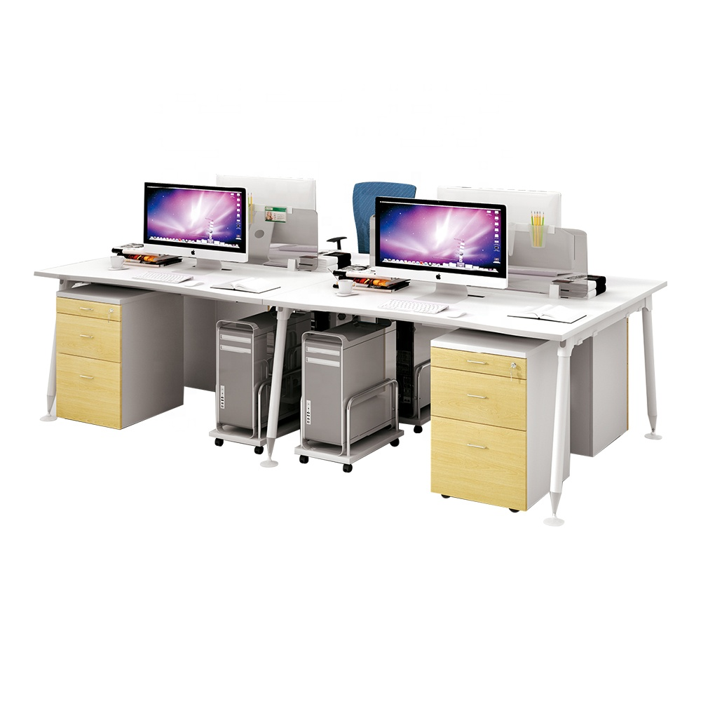 modern <strong>designer</strong> 4 People person work group station Office Desk Workstation furniture chairs and tables With Cabinet