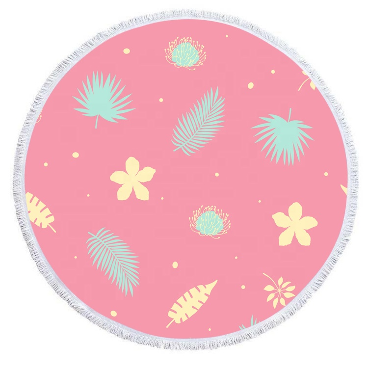 SENQI Factory high quality custom different design microfiber large round beach towel