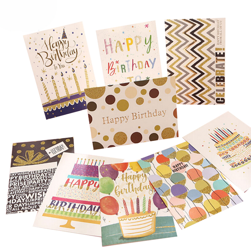 Wholesale Assorted Designs Embossing Glitter Hot Stamping Happy Birthday Greeting Cards for Gift