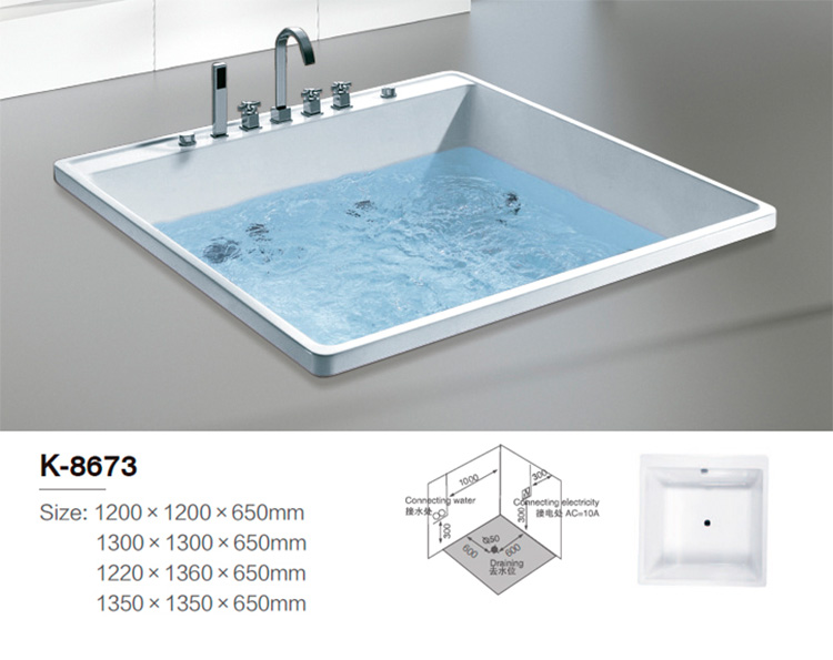 1 person simple built-in bathtub mobile with anti-dots