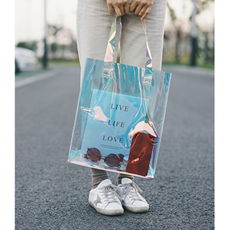 Wholesale Waterproof Transparent Holographic Shopping Bag Laser Shoulder Bag Hologram Iridescent PVC Tote Bag