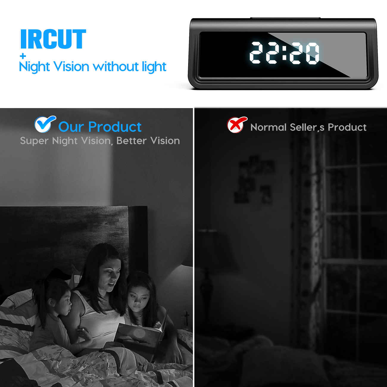 Wireless table  clock IR Night Vision mini dvr camcorder app remote 4K 1080P wifi hidden spy Camera alarm clock