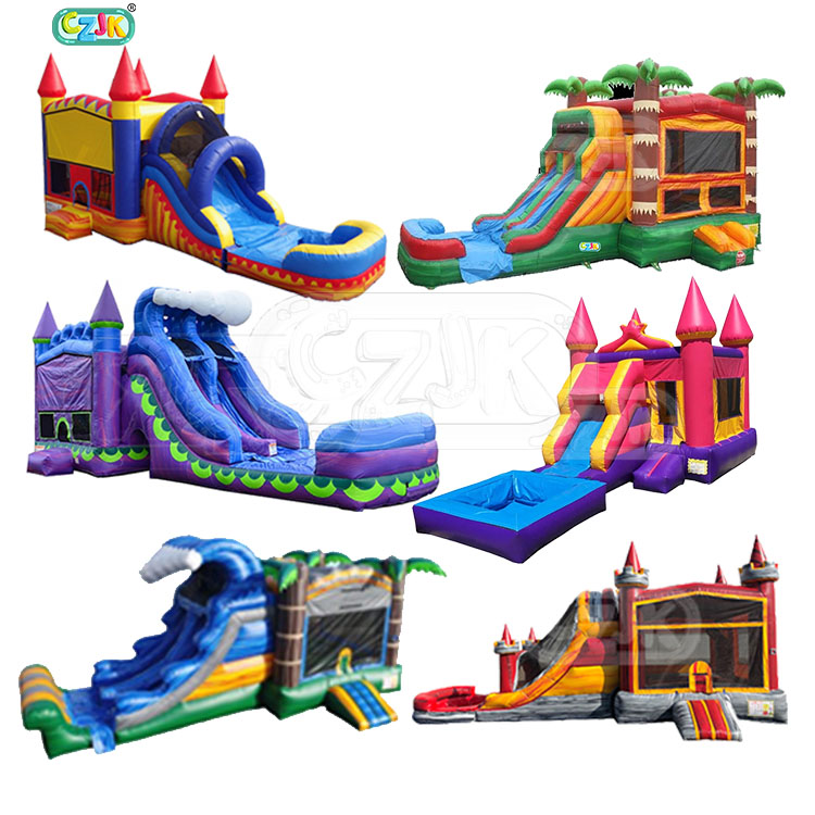 ultimate pvc colorful water slide commercial combo inflatable bounce house with blower