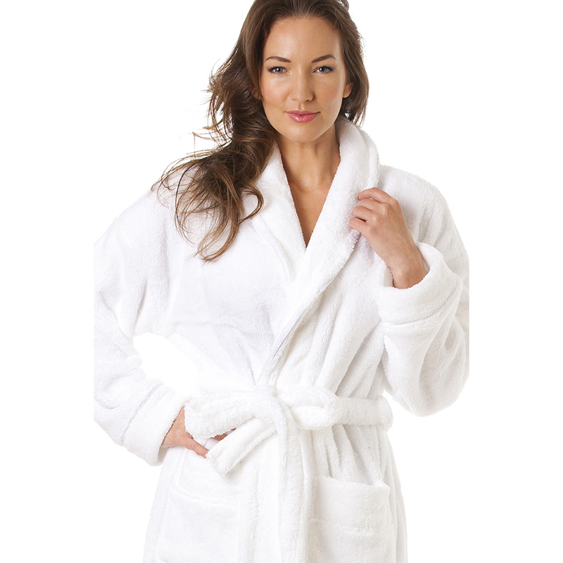 Long Unisex Women And Men White Bath Robes Cotton Twist Terry Towel Bathrobe Dressing Gown Bath Robe