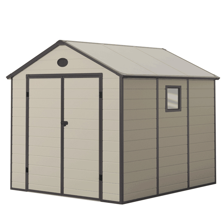 sinolily brand new model extrusion molding modern and durable portable garden plastic shed roof 8*9FT