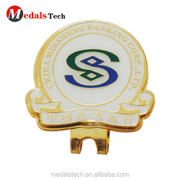 Customized engraved  logo cheap mini metal golf cap clip