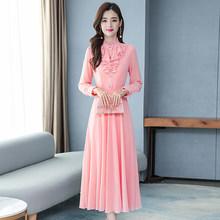 2020 винтажные однотонные шифоновые женские макси платья осень зима 3XL размера плюс с длинным рукавом элегантные женские облегающие вечерние...(Китай)