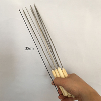 Z242 BBQ Sticks Needle Stainless Steel Flat Barbecue Forks Picnic Skewers Cooking Iron Kitchen Meat Holder