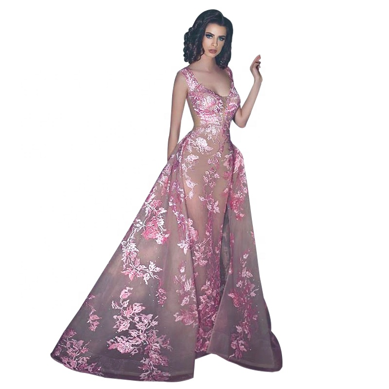 Hot Sexy Long Party Dress Mermaid Evening Dresses With Detachable Train Gown 2018