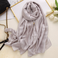 Wholesale 2020 hot sale solid colors muslim silk hijab good quality white blank long plain silk scarf