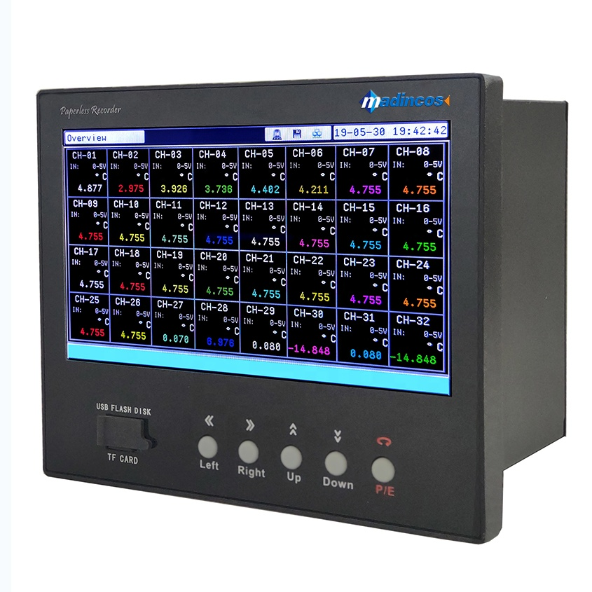 MPR5000S: 7'' Universal <strong>Digital</strong> 32 Multi-Channel Color Paperless Temperature Recorder with Modbus Ethernet TCP/IP