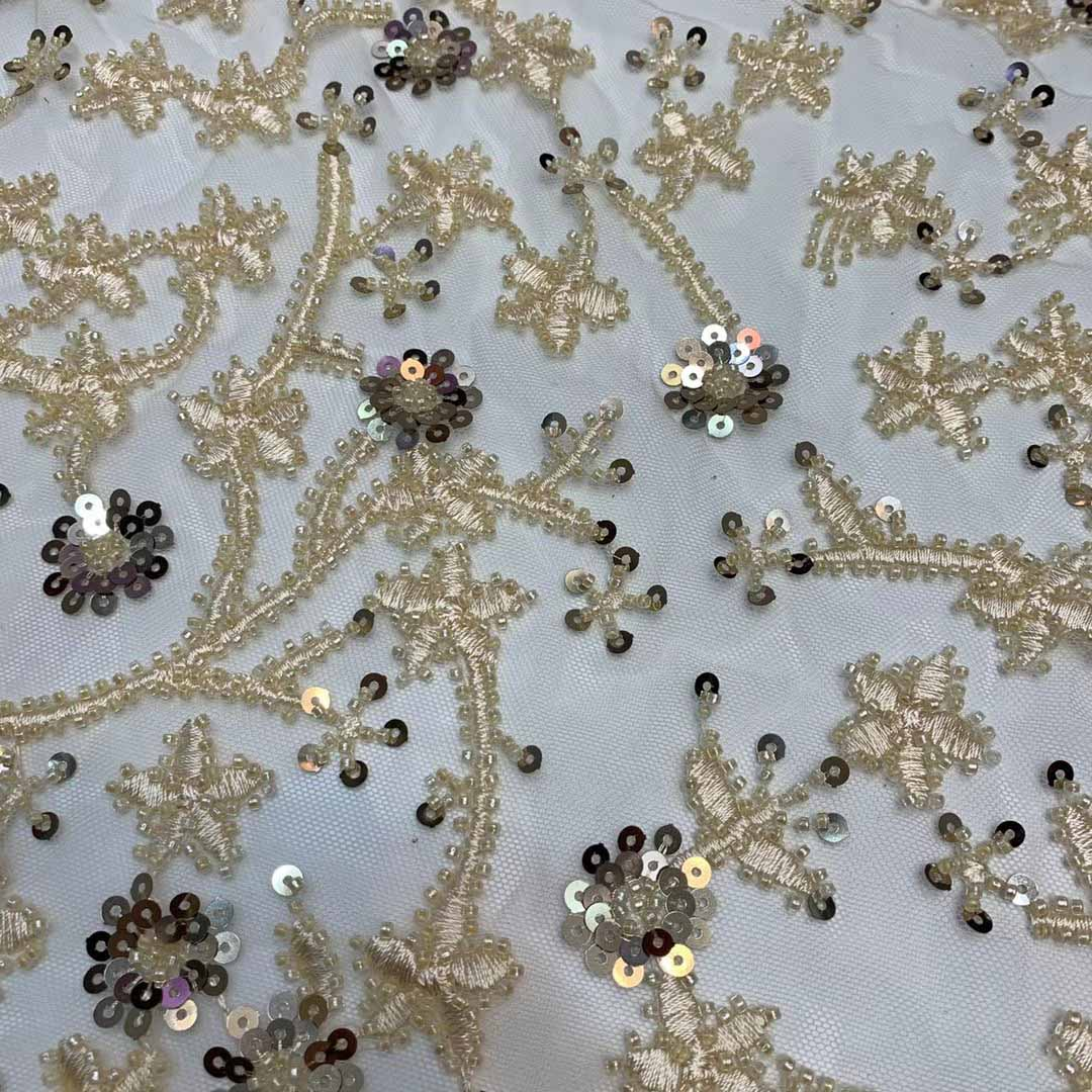 luxury evening dress gold handbeads embroidery sequins mesh lace fabric laser cut tulle lace