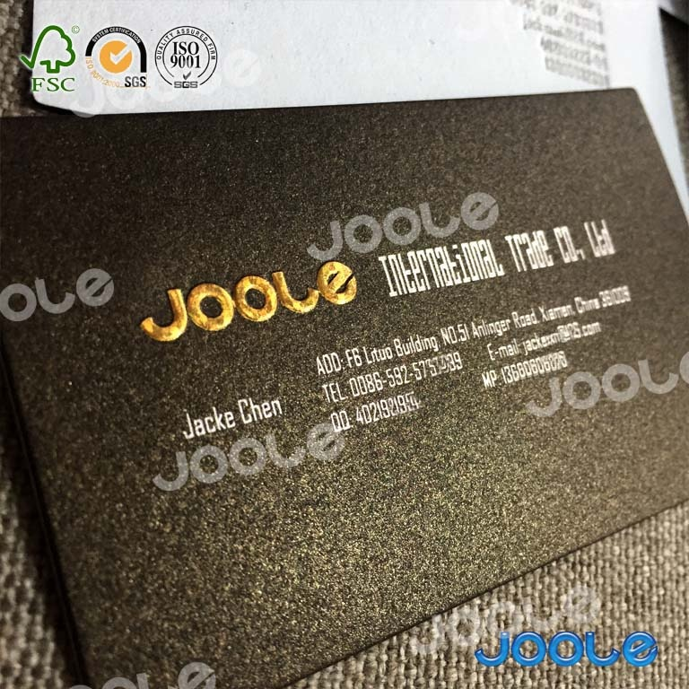 High quality thick business card with deboss and gold stamping in cotton paper