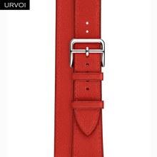URVOI двойной ремешок для apple watch series 5 4 3 2, ремешок для iwatch, высококачественный мягкий ремешок из натуральной кожи, 38 42 мм(Китай)