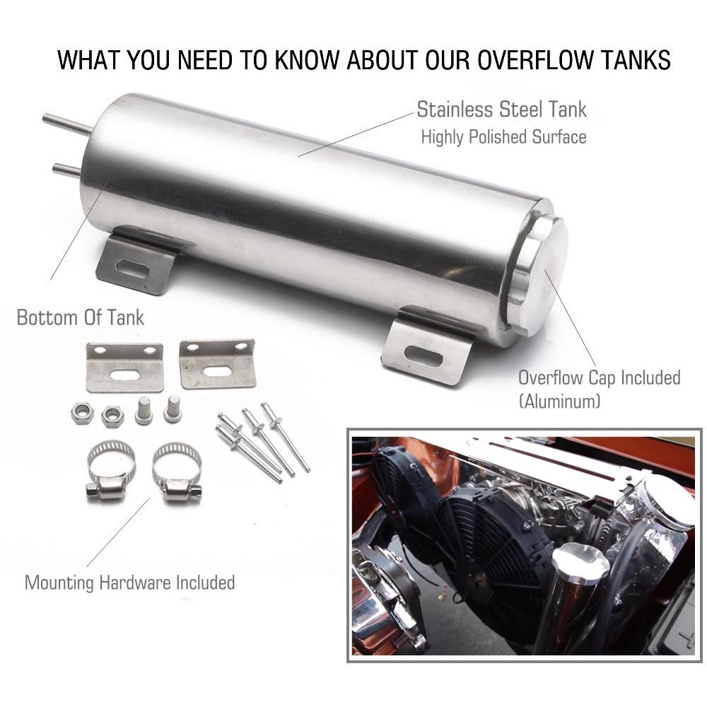 Polished Stainless Steel 32 Oz Radiator Overflow Tank Bottle Catch Can Car Modification Radiator Cooling Water Bottle-Silver