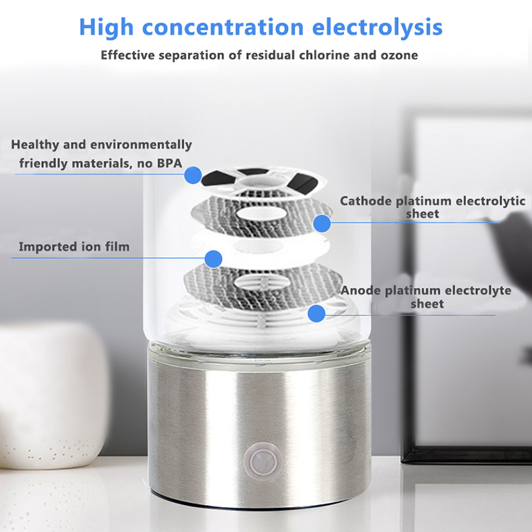 Healthy Cheap Price Glass Stainless Steel Quiet Rechargeable Electrolysis H2 Japan Hydrogen Water Generator