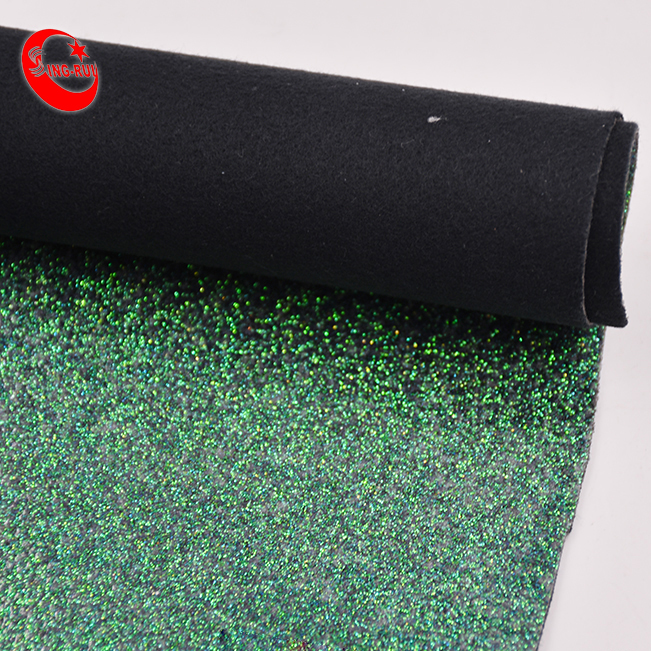 3D Wallpapers PU Glitter Patent Leather Green Fabric For Handbags