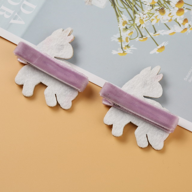 2pcs/Card Wholesale Child Hair Accessories Super Cute Handmade Cartoon Unicorn Hair Clip