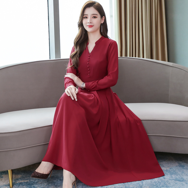 2019 Korean Women Casual Dresses Fashion Retro Long Sleeve Maxi Dress For Party