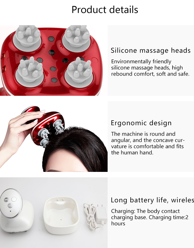 SPA therapy Portable Electric Scalp Head Massager For muscle Relax fatigue Stress Relief