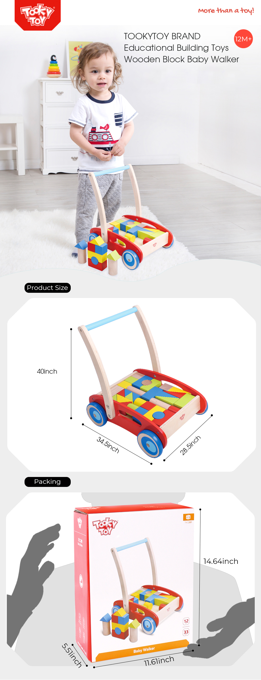 New Design Wooden Building Block Baby Walker  Educational Children Toys