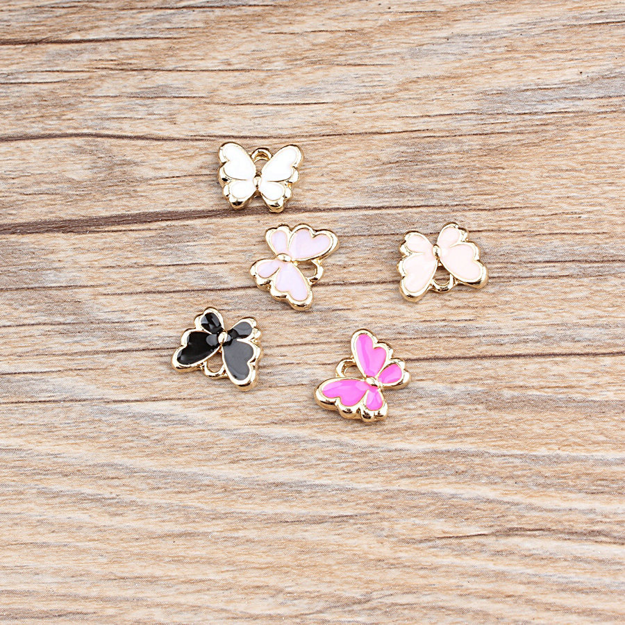 different color butterfly enamel <strong>charms</strong> for bracelet making 12*10mm can be mixed order