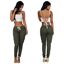 Sample Free Elastic Band Multi-bag ArmyGreen Long Casual Latest <strong>Design</strong> <strong>Trousers</strong> <strong>Women's</strong> <strong>Pants</strong>
