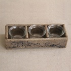 Wooden Divide Tray Glass Tealight Votive Shabby Chic Bulk Candle Holders
