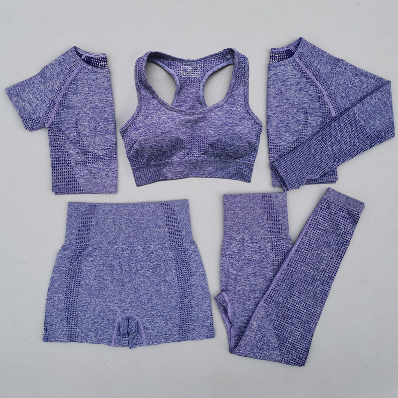 Popular Seamless Yoga Suit 2 piece Sports Shirts Crop Top Leggings Gym Clothes Fitness Tracksuit Workout Set