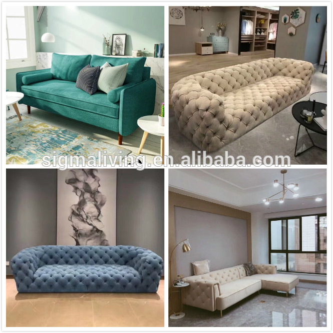 Home furniture chesterfield fabric living room low-slung chair