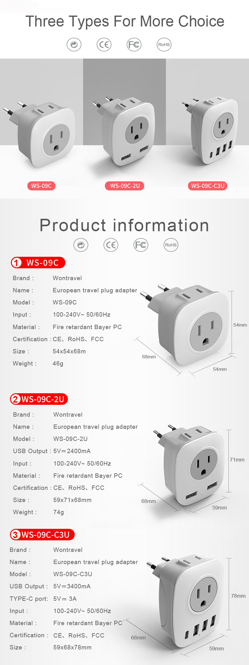 European Travel Plug Adapter Electrical Plug Socket Universal Travel Adapter Power USB quick Charger wall Outlet