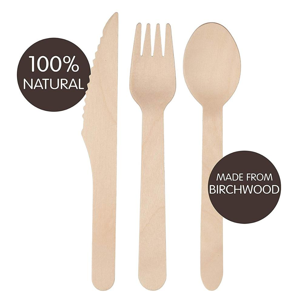Hot Sale Biodegradable Wooden Spoons <strong>Wood</strong> 160 mm biodegradable knife fork spoon disposable wooden cutlery set