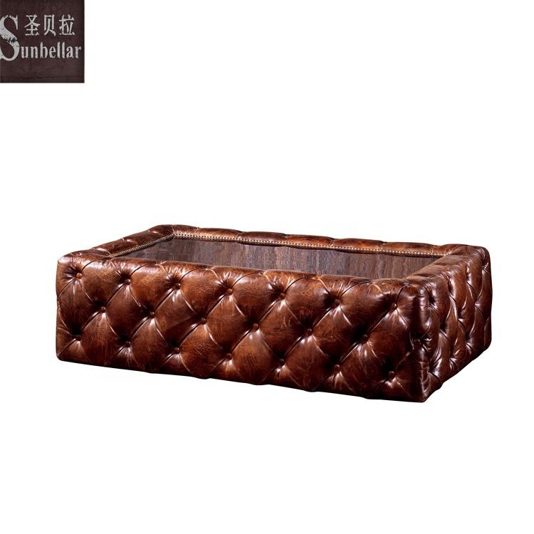 Americano antiguo de café de lujo de cuero genuino completo de espejo de acero inoxidable de sofá mesa de centro con pelo insertado con botones