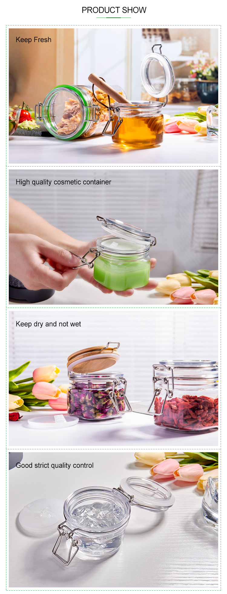 Wholesale Cheap 120ml 4oz Round shape Small Plastic Spice Jars Storage jar With stainless steel clip lid