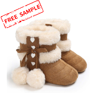 Free sample cotton fluff ball rubber sole anti-slip indoor booties 0-2 years boy and girl baby boots