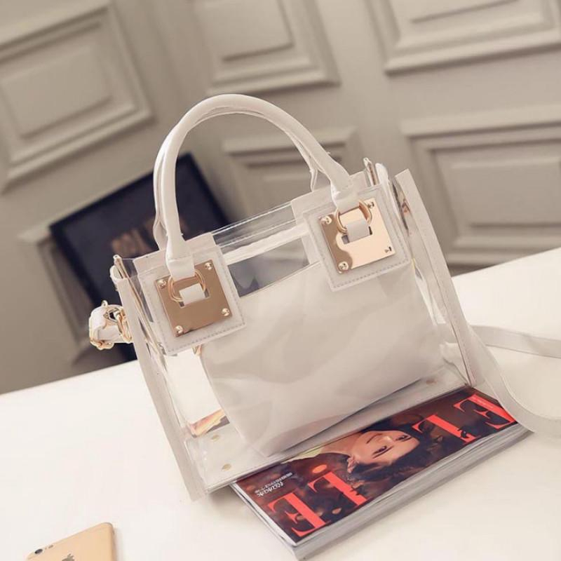 2pcs Women Fashion Shoulder Bag Clear Jelly Clutch Purse Transparent Handbag