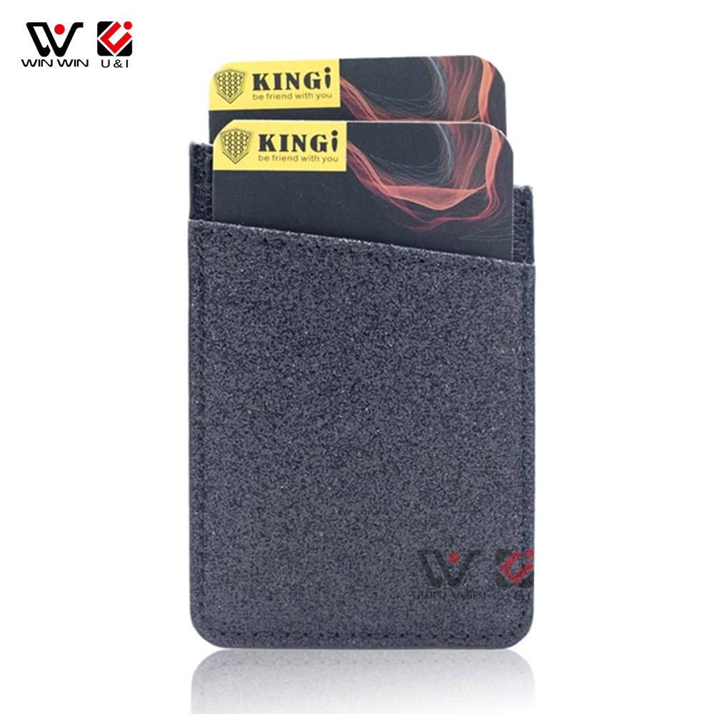 Mode PU Leder Visitenkarte Halter Tasche Stick auf Klebstoff mit Ring Halter